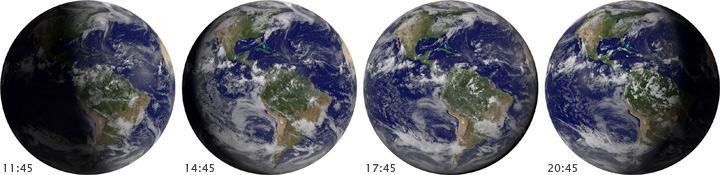 Смена Сезонов маятник Земли    Спутник инфракрасной визуализации и видимого спектра  показывает 4 снимка , снятых в 6 12 утра во время равноденствия и солнцестояний. Показывает как освещается наша Земля во время солнце стояния и во время весеннего и осеннего равноденствия