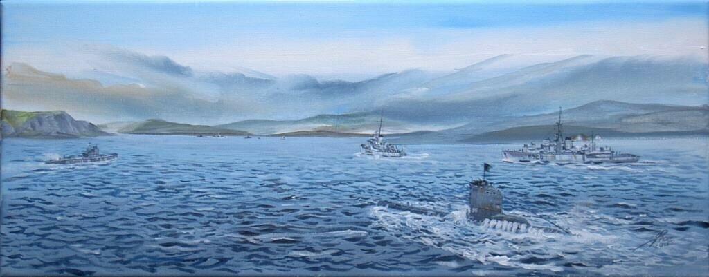 Uboats surrendering at Loch Eriboll HM ships Rupert(leading) and Loch Alvie following.