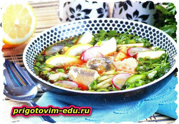 Рыбная окрошка (окунь, треска, белуга, осетр, севрюга)