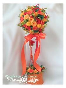 handmade, handwork, дерево счастья, европейское дерево, интерьерная композиция, оранжевый, оригинальные подарки, подарки, розы из атласных лент, рукоделки василисы, ручная работа, топиарий,топиарий из роз, цветы из атласных лент