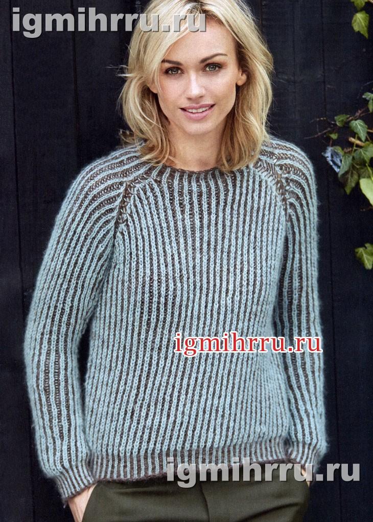 Теплый двухцветный пуловер из патентной резинки. Вязание спицами