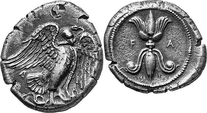 The thunderbolt pattern with an eagle on a coin from Olympia, Greece, 432-c.421 BC.