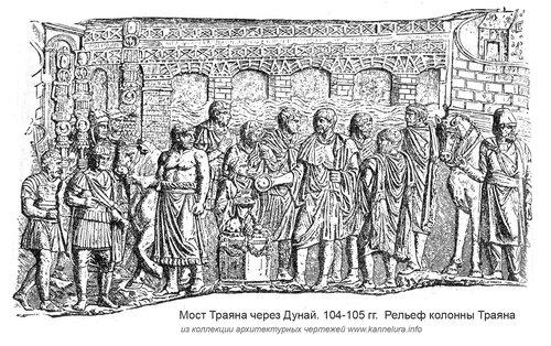 Мост через Дунай на рельефе колонны Траяна, гравюра