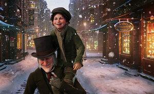 Под Рождество скряга Скрудж становится щедрым и счастливым. Кадр из фильма Роберта Земекиса «Рождественская история» (2009 г). Фото с сайта thespot.ru
