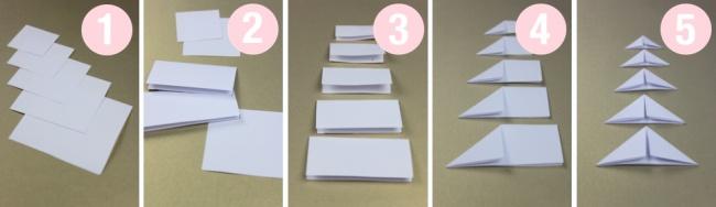 © blog.bog-ide  Объемные елочки избелой ицветной бумаги настолько простые висполнении, что