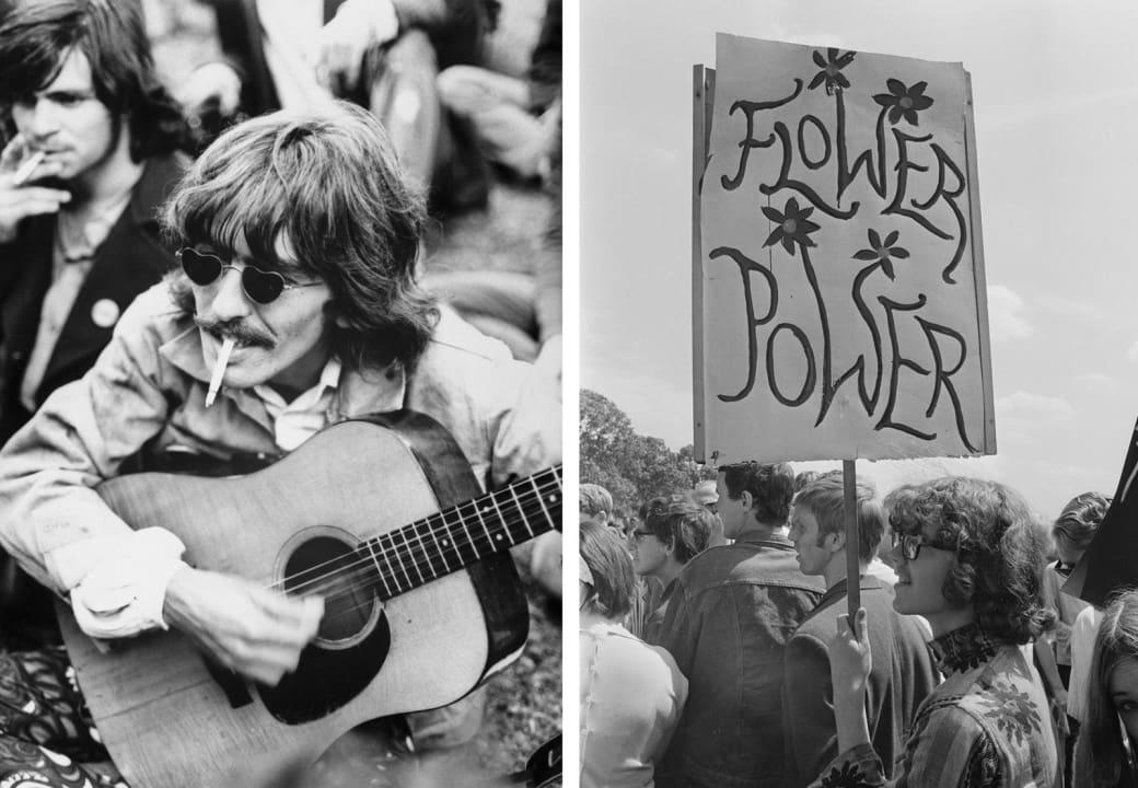 Слева: Джордж Харрисон одолжил гитару у местных хиппи, гуляя по парку «Золотые ворота», Сан-Франциск