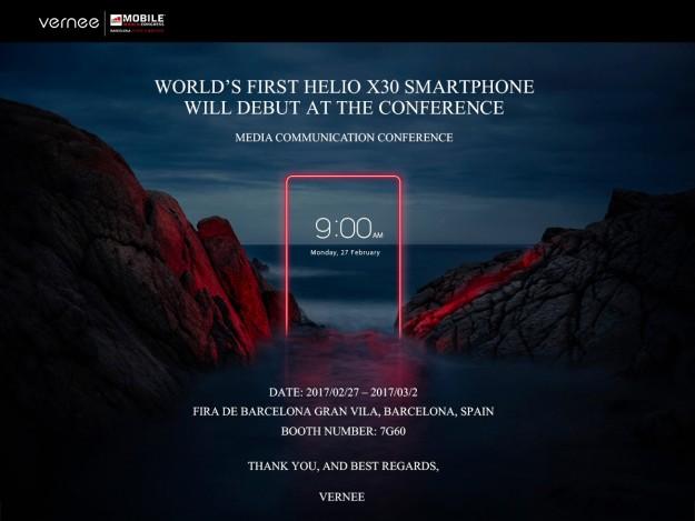 Vernee представит 1-ый смартфон сHelio X30 навыставке MWC 2017