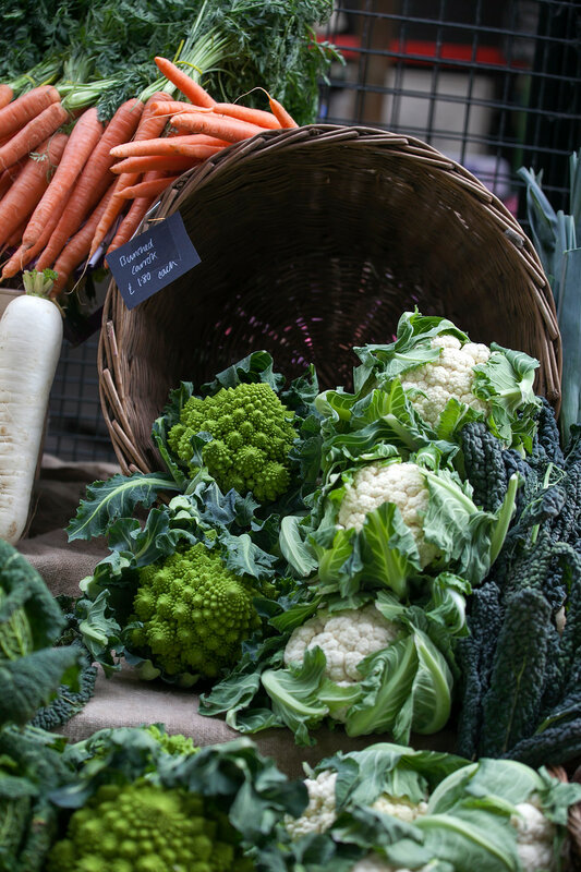 the Still life of romanesco cauliflower or broccoli heads