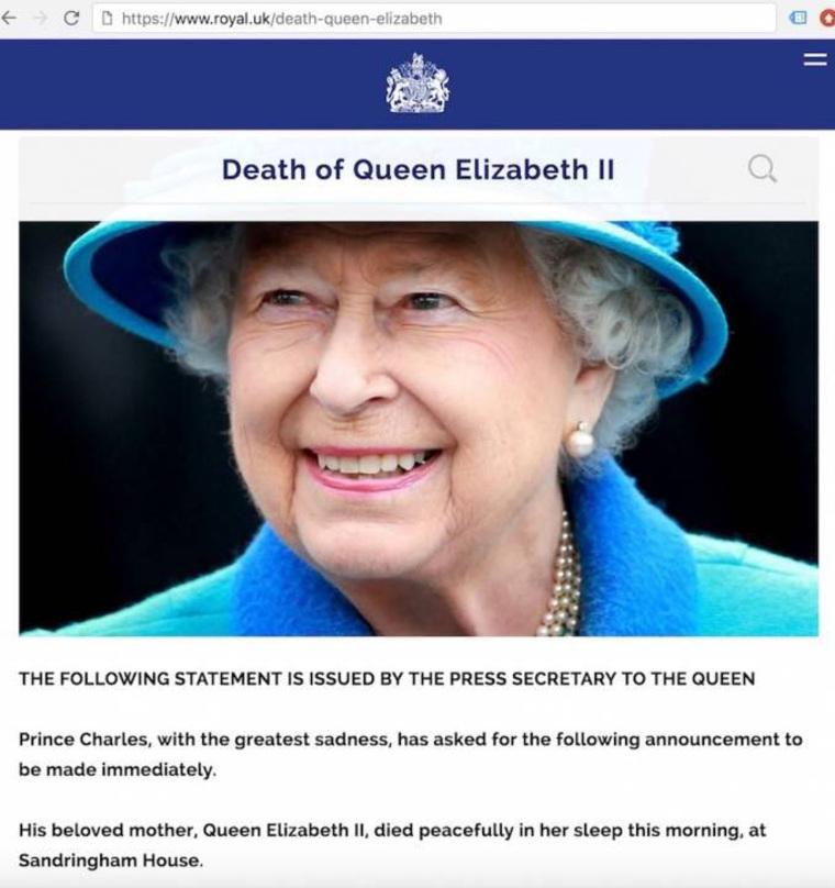 Опубликовано сообщение о смерти Елизаветы II