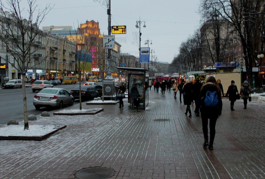 Пешеходная зона Крещатика в районе Бессарабской площади