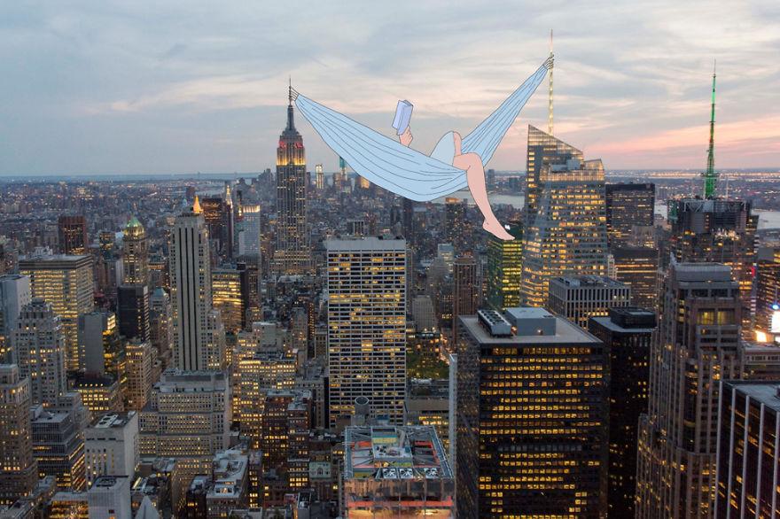 Artista cria historias divertidas com ilustracao sobre fotografia
