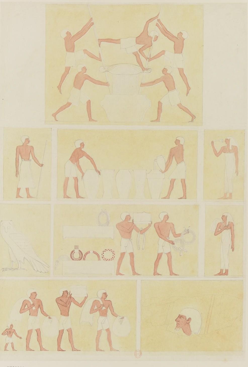 Пирамиды Гизы. Рельефы, украшающие гробницу к востоку от пирамиды Хефрена