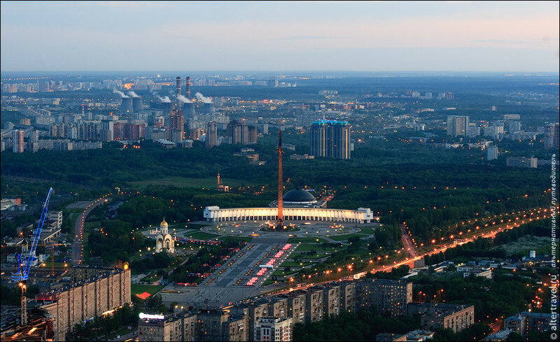 Кутузовский проспект, Парк Победы, ТЭЦ-25 в Очаково на горизонте