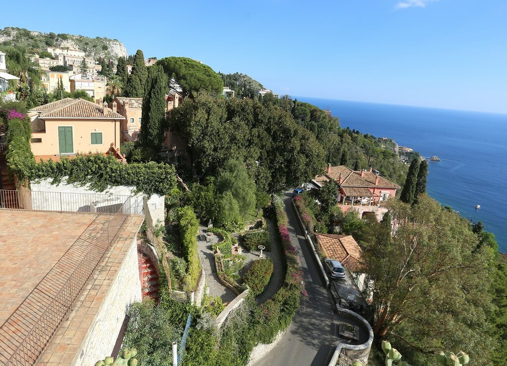 Taormina. View from the observation deck of 9 April square