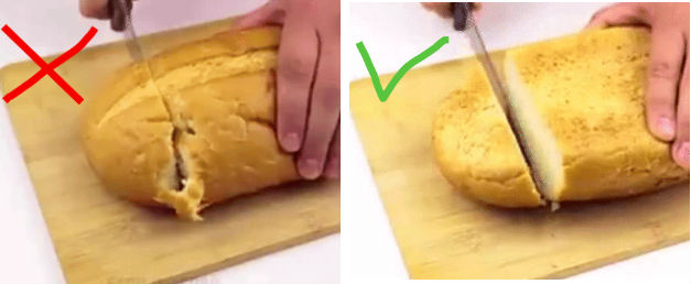 Если вы перевернете батон хлеба, то его будет удобнее нарезать.