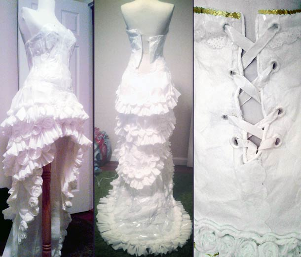 A wedding dress with 11 rolls of toilet paper…