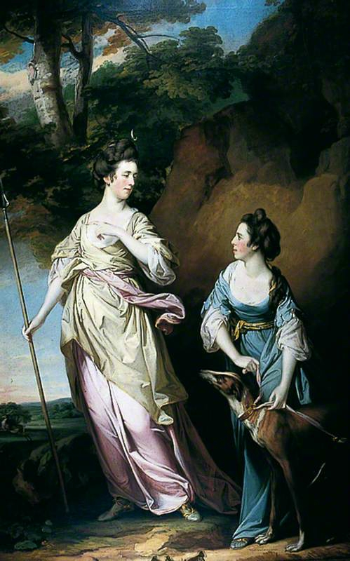 1765 Francis Cotes (English Painter, 1726-1770) The Honourable Lady Stanhope and the Countess of Effingham as Diana, and Her Companion.jpg