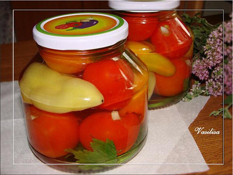 маринованные помидоры с перцем болгарским и семем горчицы