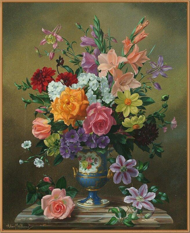 3 Натюрморт с цветами в фарфоровой вазе на выступе (Still life of flowers in a porcelain vase on a ledge)_60 х 40_х.,м._Частное собрание.jpg