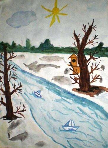 Весна пришла - Протопопов Артём Максимович, 9 лет, Тема -- Рисунок, х. Клетско-Почтовский (Серафимовичский р-н).jpg