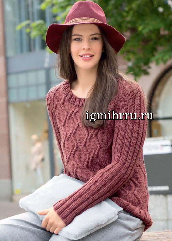 Повседневный пуловер кирпично-красного цвета с ромбами. Вязание спицами