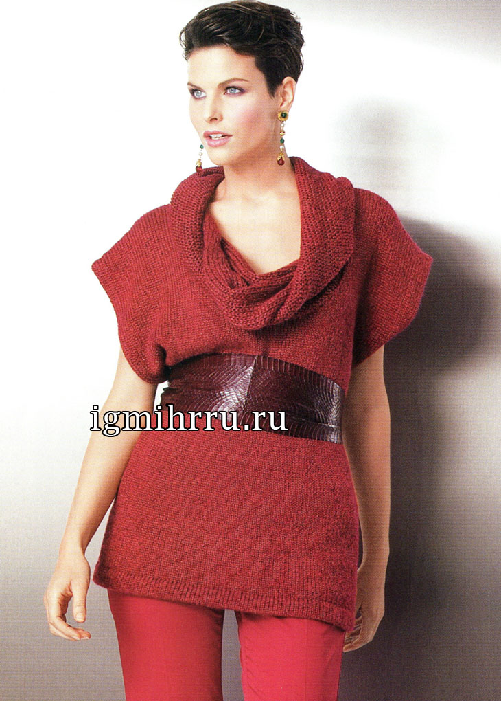 Красная туника с воротником-хомутом. Вязание спицами