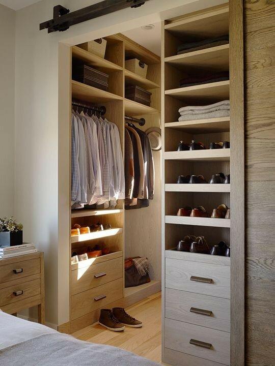 Walk in modern closet organizers