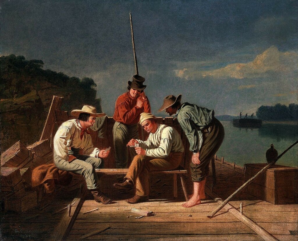 1267px-George_Caleb_Bingham_-_In_a_Quandary,_or_Mississippi_Raftsmen_at_Cards1851.jpg