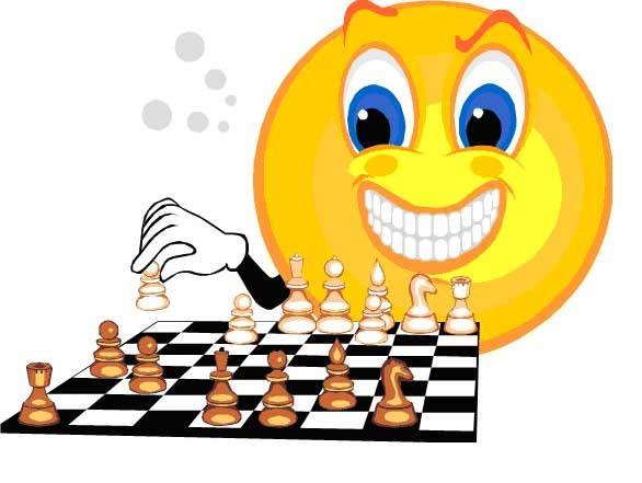 С днем шахмат. Смайлик играет в шахматы.JPG открытки фото рисунки картинки поздравления