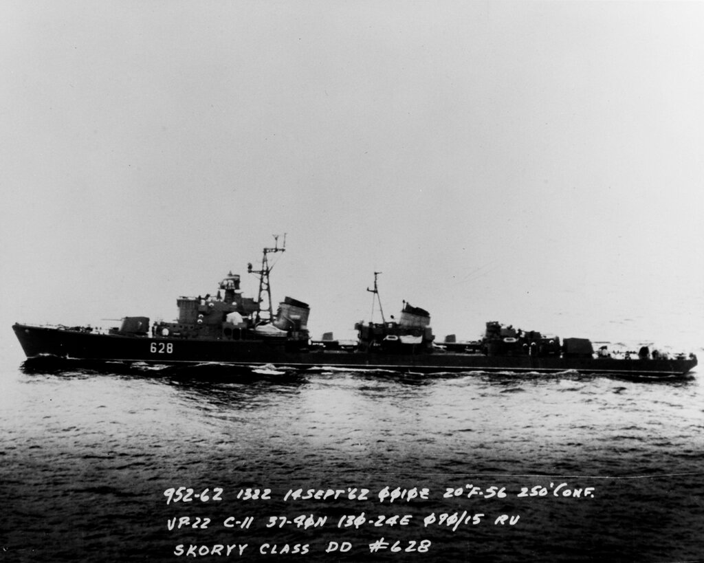 Soviet Pacific Fleet SKORYY Class Destroyer, photographed at 0010 hours Zulu time 14 September 1962 in the Southern Sea of Japan in position 37-40 North, 130-24 East, by U.S. Navy Aircraft of Patrol Squadron (VP) 22.