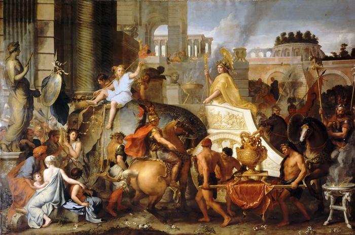 Триумфальный въезд Александра в Вавилон. Шарль Лебрен.  Когда в 331 году до н. э. Александр