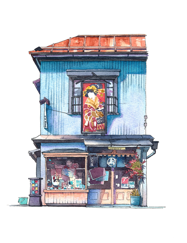 Акварельные рисунки уличных магазинов Японии