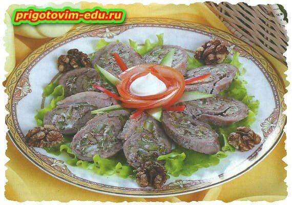 Рулет из говядины с сельдереем .рецепт приготовления
