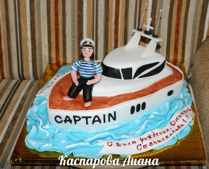 Мастичный торт Моряк и корабль