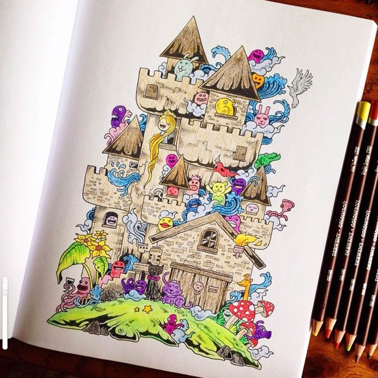 Doodle Invasion - A cute and complex coloring book for grown-ups
