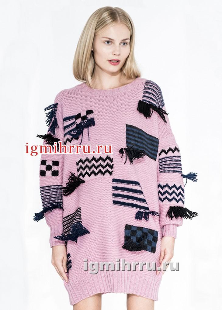 Молодежная розовая туника с мотивами и бахромой. Вязание спицами
