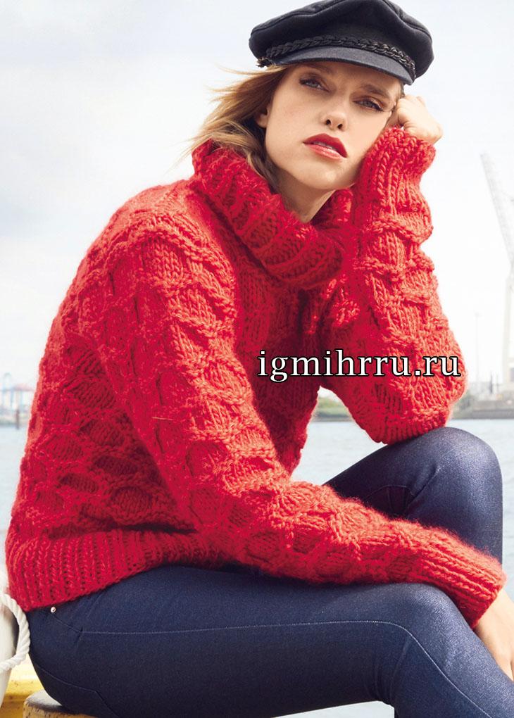 Красный шерстяной свитер с узором соты. Вязание спицами