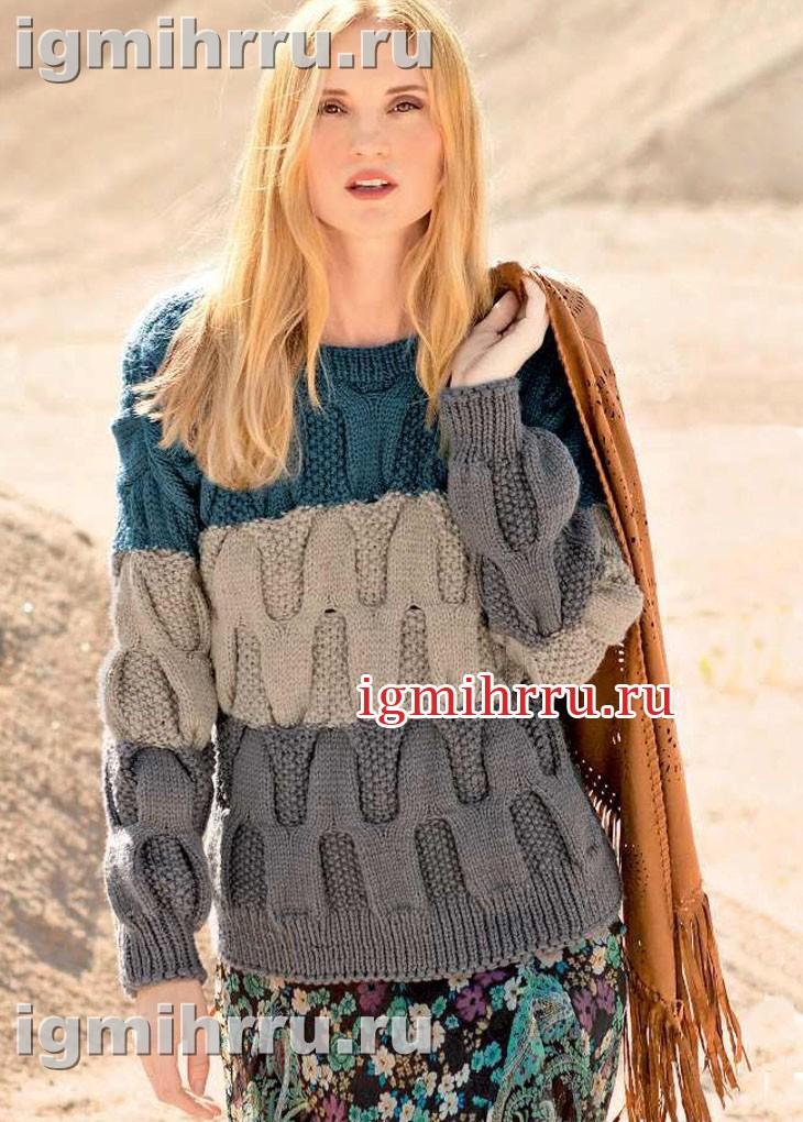 Теплый пуловер с крупным плетеным узором. Вязание спицами