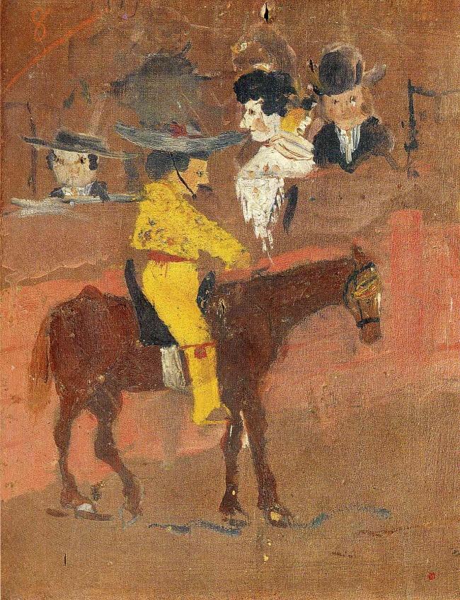 © wikiart.org  «Желтый пикадор», 1890 Маленький Пабло начал выказывать любовь крисованию уже