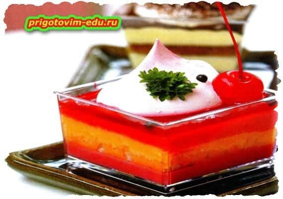 Фруктово-ягодное желе с ликером