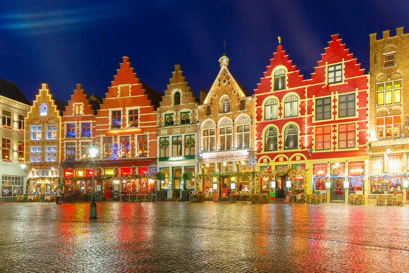 Christmas Old Market square in the center of Bruges, Belgium