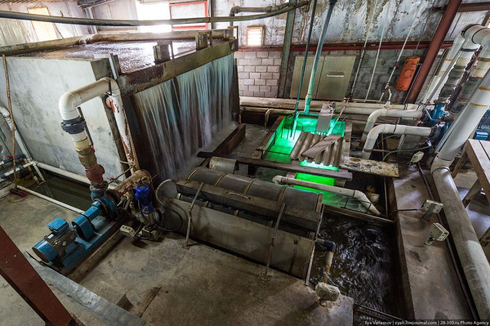 Технологическая схема установки замкнутого водоснабжения (УЗВ). 1) Бассейны с рыбой, грязная во