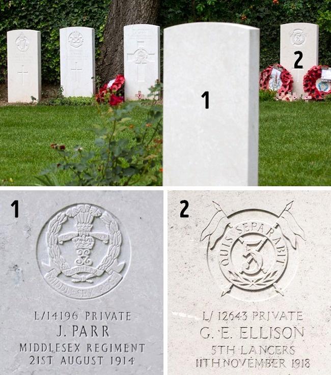© theguardian  Могилы первого ипоследнего избританских солдат, погибших вПервую мировую вой