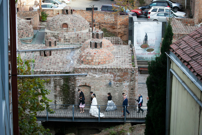TBILISI, GEORGIA - November 5, 2016: Exterior of public bath in Tbilisi, Georgia. Popular place for wedding shooting