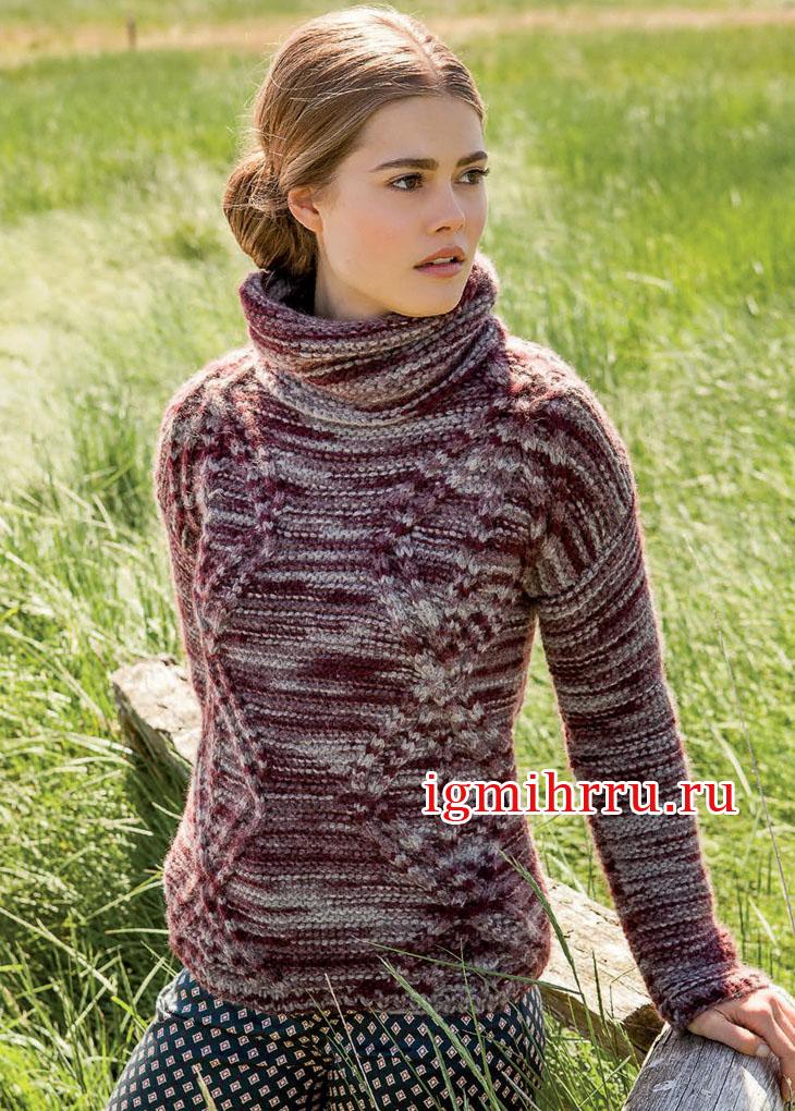Меланжевый свитер с ромбами из кос. Вязание спицами