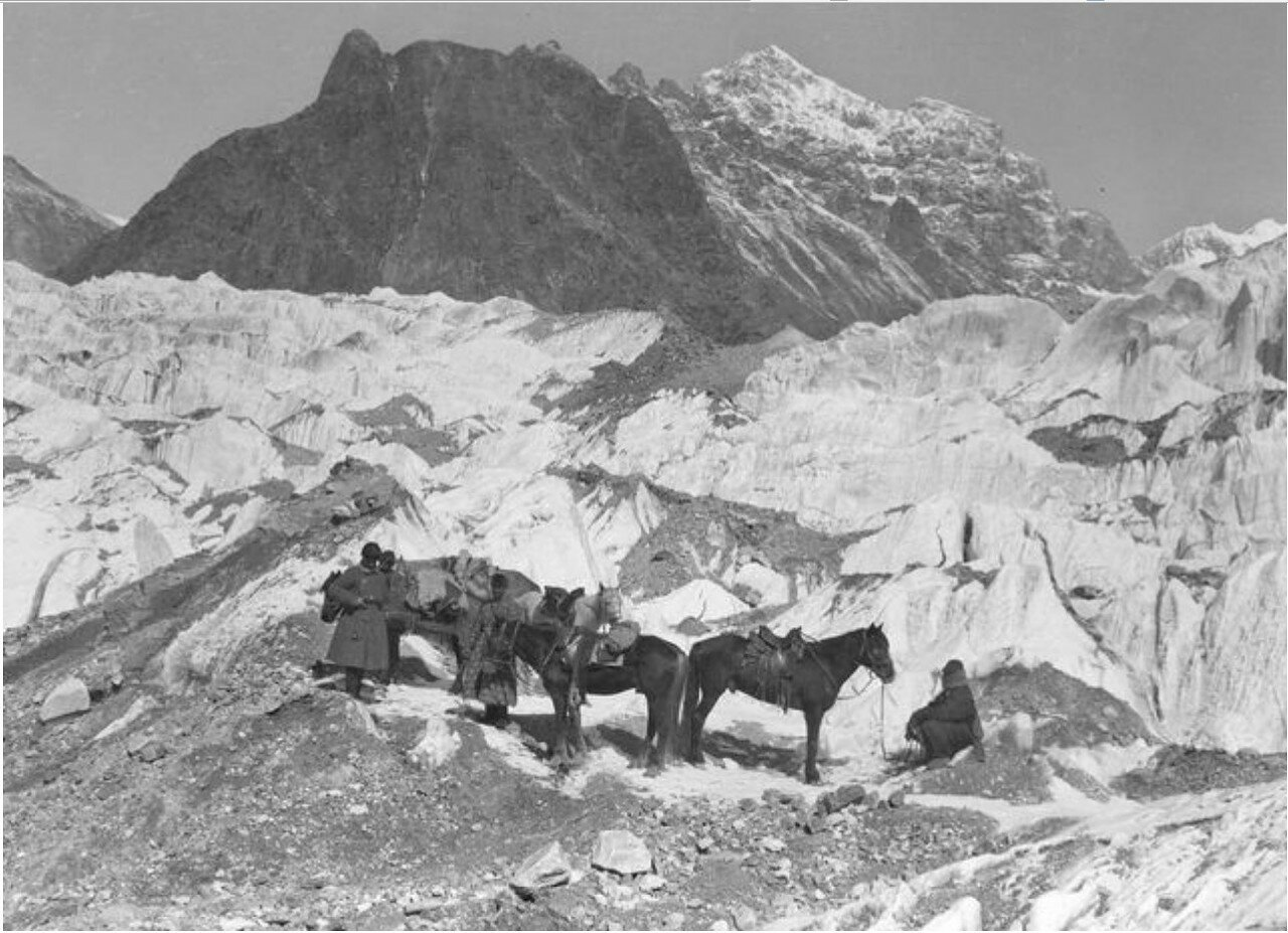 Экспедиция Маннергейма совершает восхождение на Музартский ледник