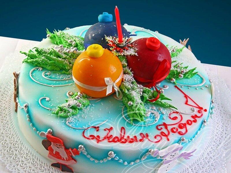 Торт «Новогодний» ореховый с цветным зефиром