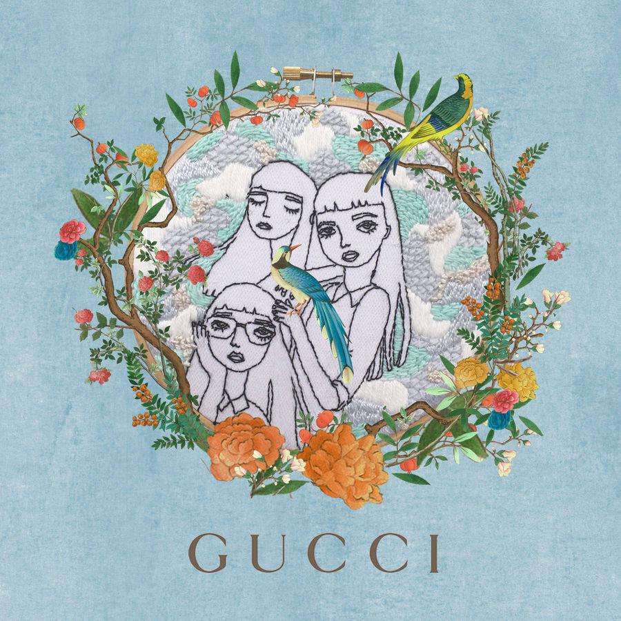 Принты с эстетикой китайских гобеленов для Gucci