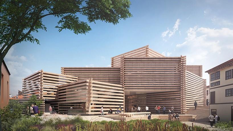 Проект музея с деревянными балками от Kengo Kuma (5 фото)