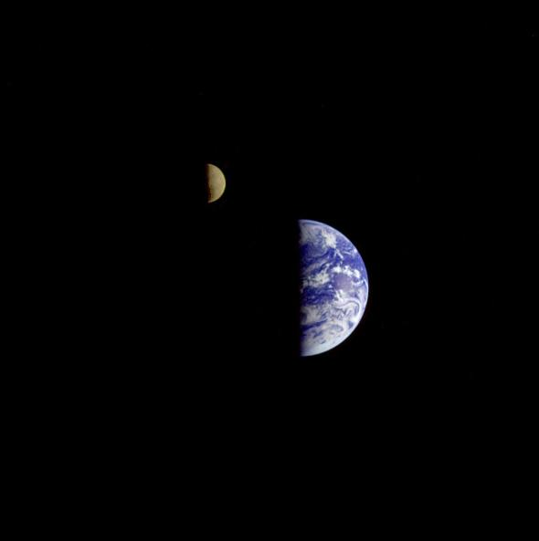 First Pictures of Earth and Moon Taken from Mars and Saturn